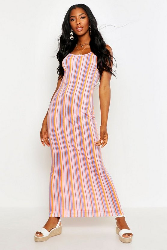 Womens Pink Striped Maxi