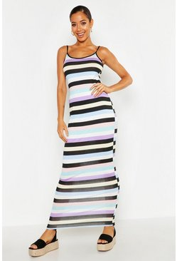 Womens Black Strappy Striped Maxi Dress