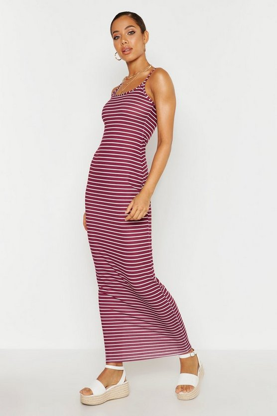 Womens Wine Stripe Maxi Dress