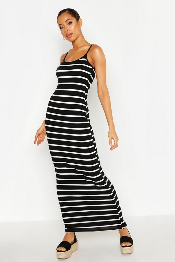 Womens Black Stripe Maxi Dress