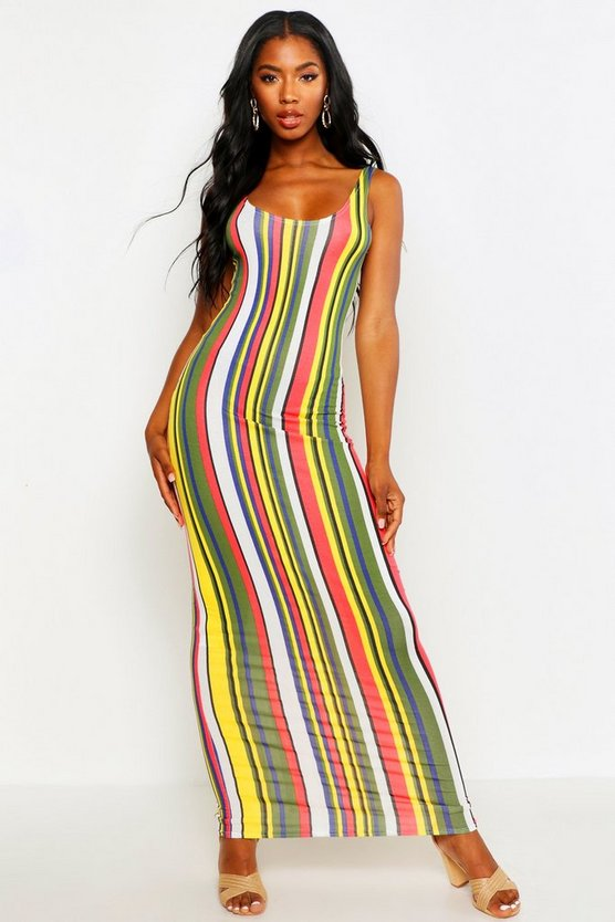 Womens Red Striped Maxi Dress