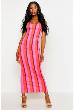 Womens Pink Striped Maxi Dress