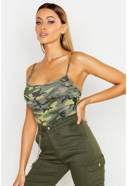 Womens Green Camo Bodysuit
