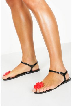 Womens Black Jelly Rose Toe Post Sandals