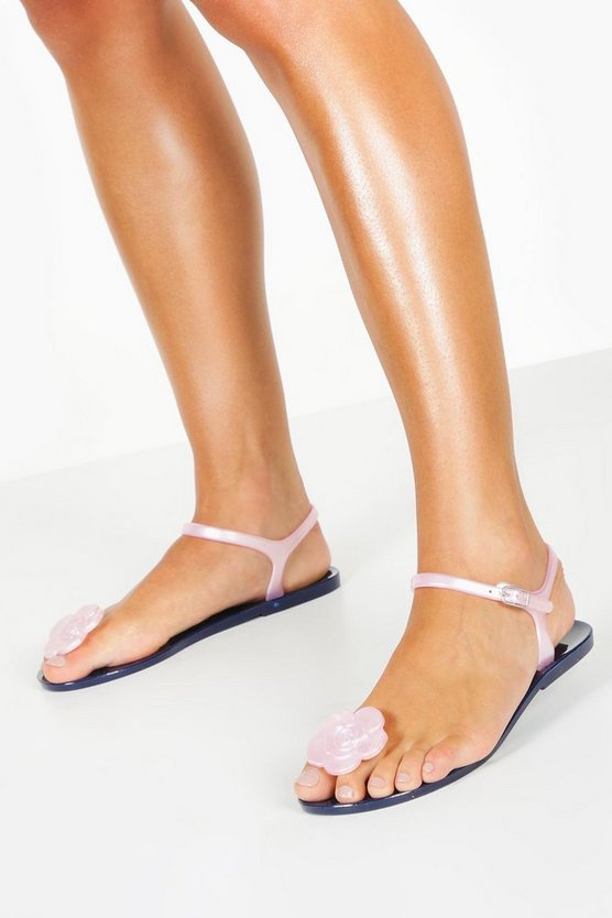 Navy Jelly Rose Toe Post Sandals