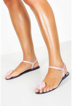 Womens Navy Jelly Rose Toe Post Sandals
