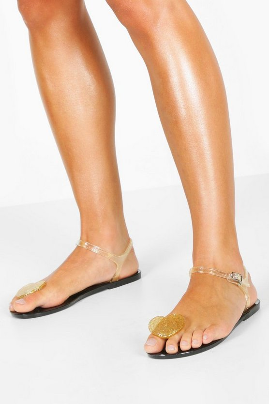 Gold Glitter Jelly Heart Toe Post Sandals
