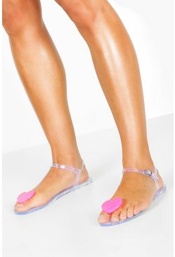 Womens Fuchsia Jelly Heart Toe Post Sandals