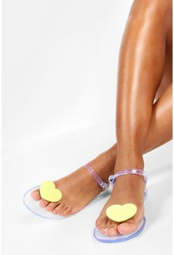 Womens Yellow Jelly Heart Toe Post Sandals