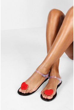 Womens Black Jelly Heart Toe Post Sandals