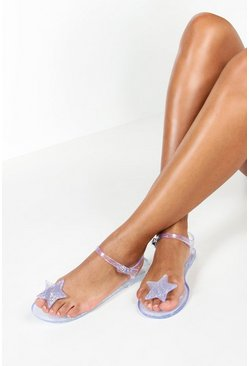 Womens Silver Glitter Jelly Star Toe Post Sandals