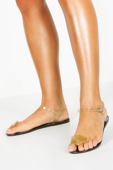 Womens Gold Lips Toe Post Jelly Sandals