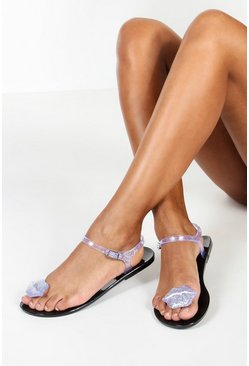 Womens Silver Lips Toe Post Jelly Sandals