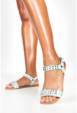 Womens Blue Pyramid Stud Flat Sandals