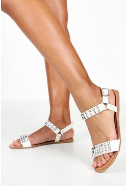 Womens White Pyramid Stud Flat Sandals