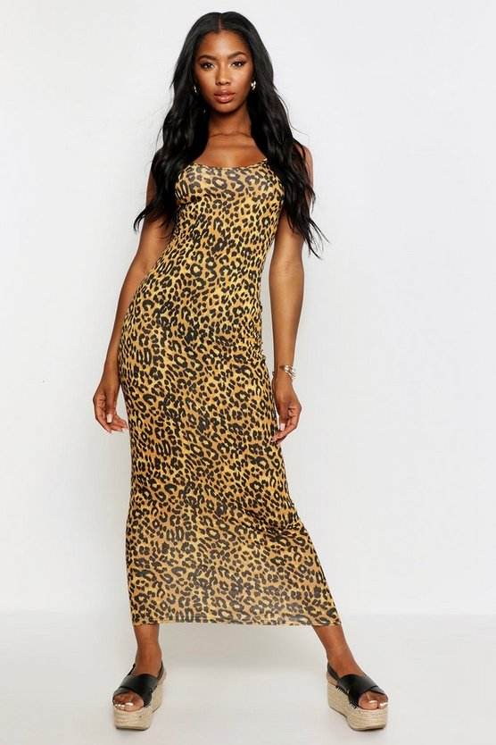 Womens Leopard Leopard Maxi Dress