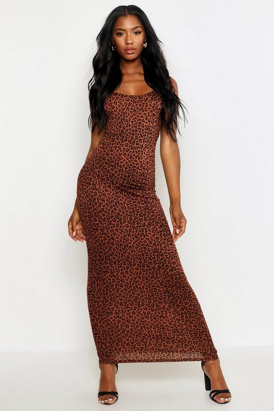 Womens Brown Leopard Maxi Dress
