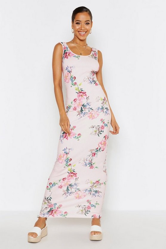 Womens Blush Floral Maxi Dress