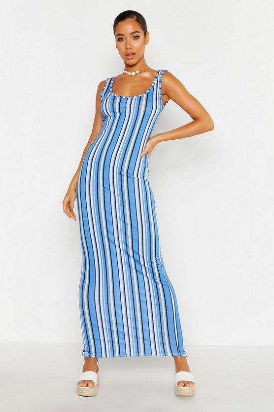 Womens Cobalt Striped Maxi Dress