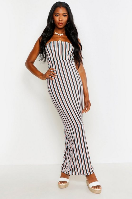 Womens Pink Striped Bandeau Maxi Dress
