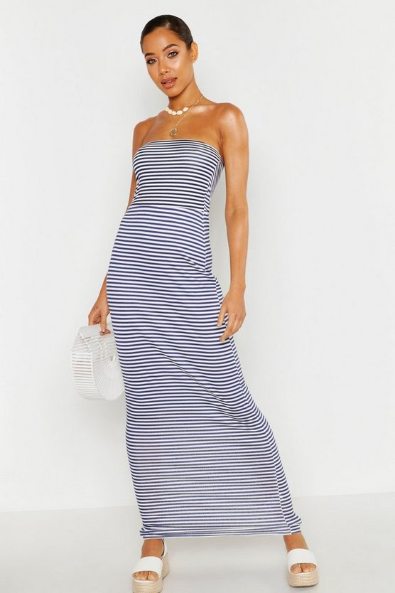 Womens Navy Stripe Bandeau Maxi Dress