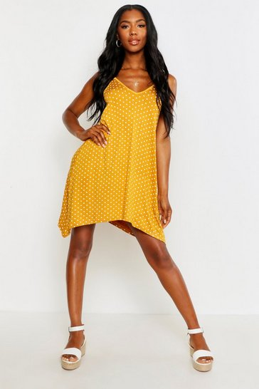 Womens Mustard Spotty Swing Dress