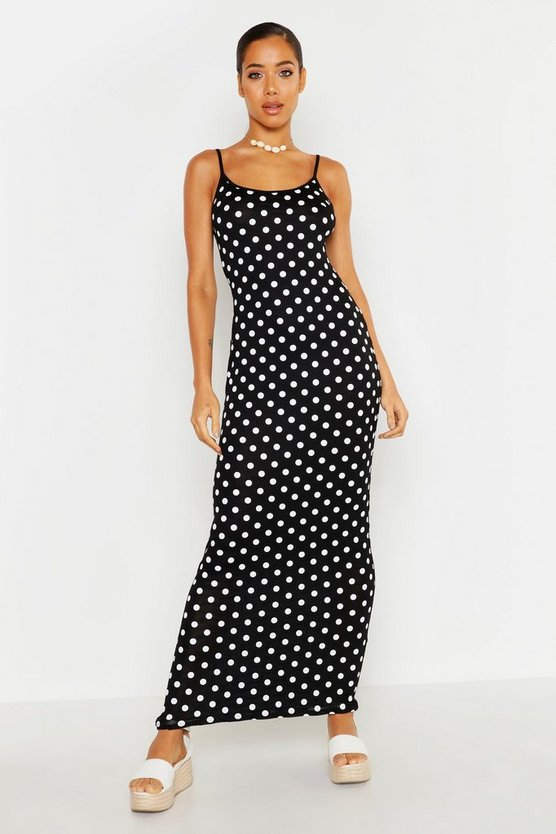 Womens Black Spotty Maxi Dress
