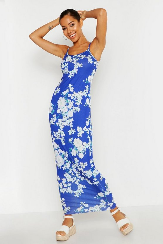 Womens Blue Floral Maxi Dress