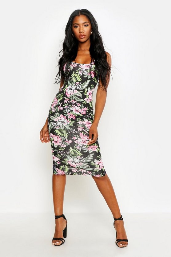 Floral Print Square Neck Bodycon, Black, MUJER