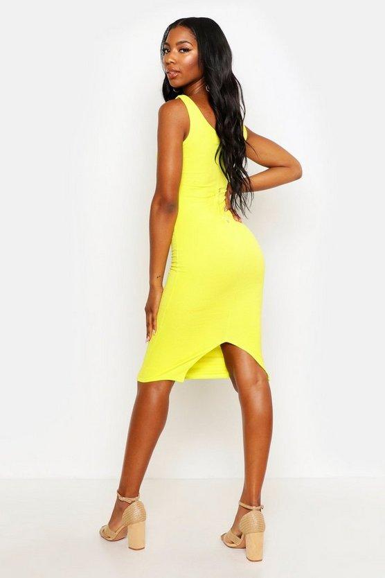 Bright Square Neck Bodycon Dress