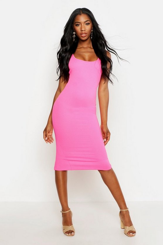 Bright Square Neck Bodycon Dress, Pink, DAMEN