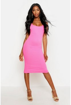 Womens Pink Bright Square Neck Bodycon Dress