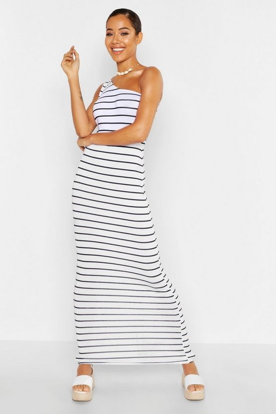 Womens White One Shoulder Striped Maxi Dress