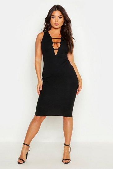 Womens Black Strappy Detail Plunge Bodycon Midi Dress