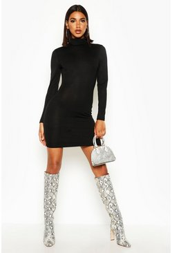 Black Roll Neck Jumper Dress