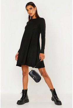 Black Knitted Swing Dress