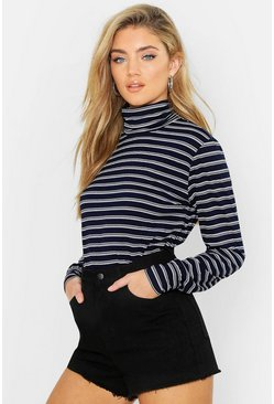 Navy Knitted Stripe Roll Neck Jumper