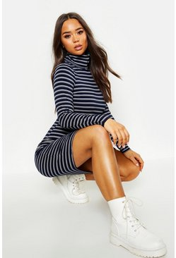 Navy Knitted Stripe Roll Neck Dress