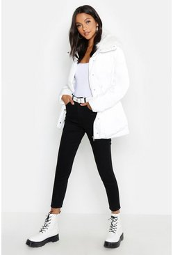 Womens White Faux Fur Trim Puffer