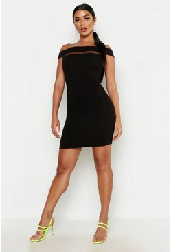 Womens Black Off The Shoulder Bodycon Dress