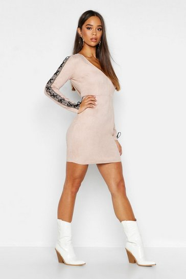 Womens Pink Embroidered Tape Suedette Bodycon Dress