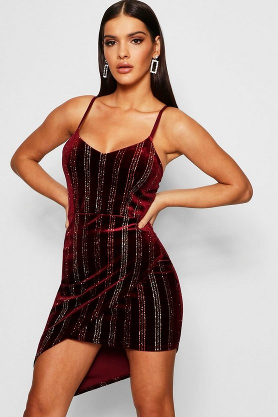Velvet Printed Chain Wrap Dress