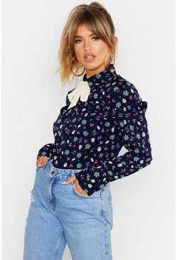 Womens Navy Floral Tie Collar Blouse