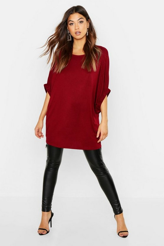 Womens Wine Batwing Top