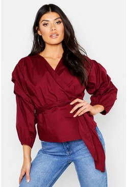 Womens Wine Wrap Front Puff Sleeve Top