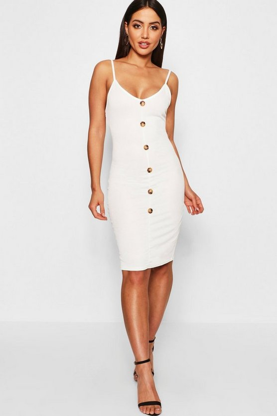 Button Through Bodycon Dress