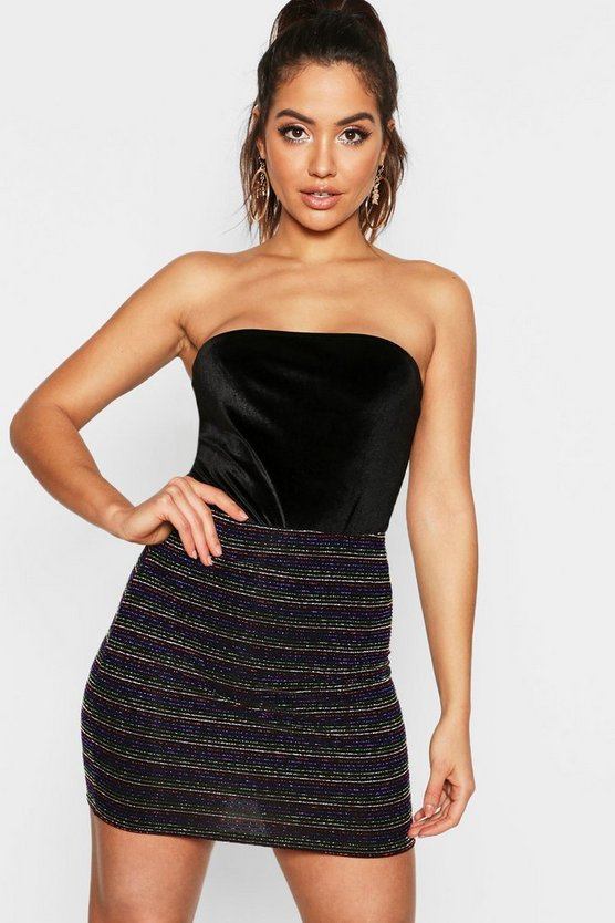 Womens Black Metallic Rainbow Stripe Mini Skirt