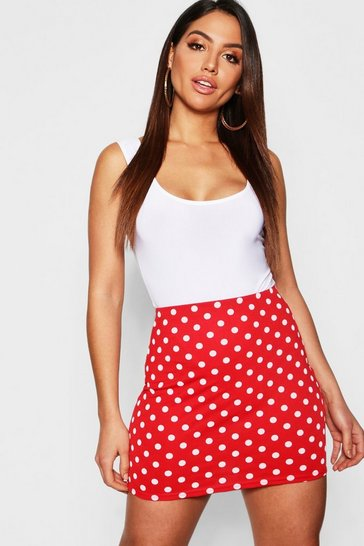 Womens Red Polka Dot Mini Skirt