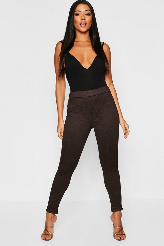 Womens Brown Check Skinny Trousers