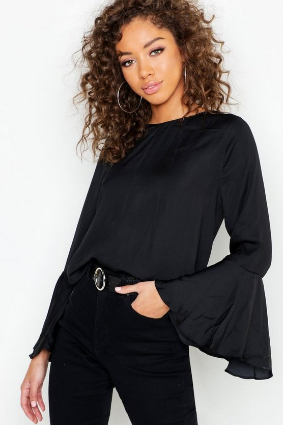Satin Flare Sleeve Tie Back Blouse